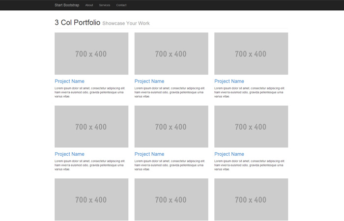 bootstrap 3 email template - start bootstrap three column portfolio template for