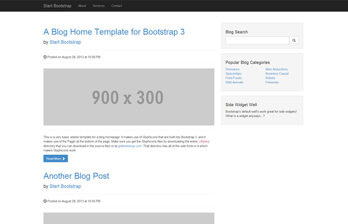start bootstrap free bootstrap blog templates and themes. Black Bedroom Furniture Sets. Home Design Ideas
