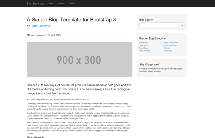 Start Bootstrap Blog Post Template For Bootstrap 3