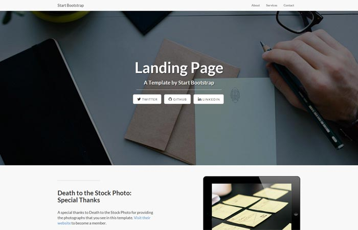 Start Bootstrap - Free Landing Page Templates and Themes for Bootstrap 3